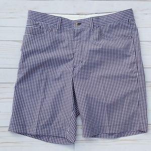 Greg Norman Mens 36 Golf Shorts Checked Navy White